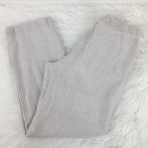 J. Jill Small Petite Tan Linen Pants Khaki Beige